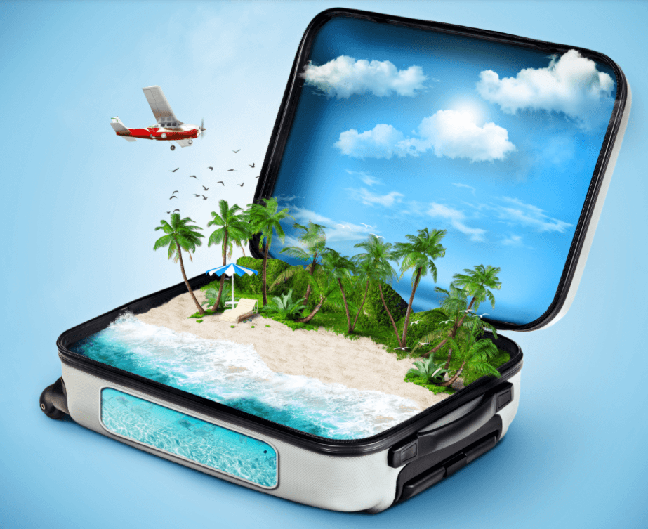 Flying and packing suitcase
